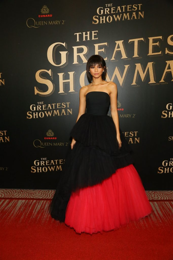 """Zendaya attends as Cunard Hosts World Premiere of 20 th Century Fox's """"The Greatest Showman"""" on board Greatest Ocean Liner, Flagship Queen Mary 2, on Friday, Dec. 8, 2017, in Brooklyn, N.Y. This is the first ever major motion picture premier to take place on board a passenger ship. (Photo by Stuart Ramson/Invision for Cunard/AP Images)"""