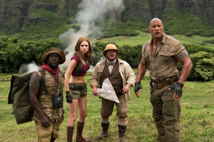 "(l to r) Kevin Hart (Franklin ""Moose"" Finbar), Karen Gillan (Ruby Roundhouse) Jack Black (Professor Shelly Oberon) and Dwayne Johnson (Dr. Smolder Bravestone) star in JUMANJI: WELCOME TO THE JUNGLE."